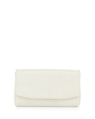 June Snake-Embossed Leather Clutch Bag, White
