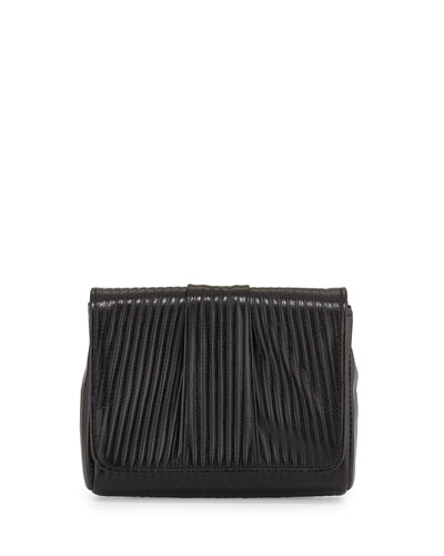 Mini Caroline Embossed Clutch Bag, Black