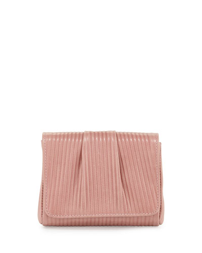 Mini Caroline Embossed Clutch Bag, Rose