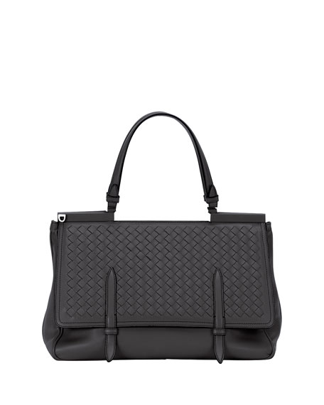 Bottega Veneta Intrecciato Medium Flap Bag, Black