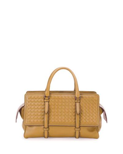 Monaco Small Intrecciato Satchel Bag, Camel