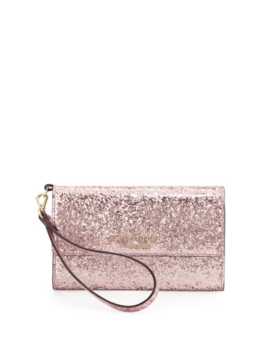 glitter iPhone 6 wristlet wallet, rose