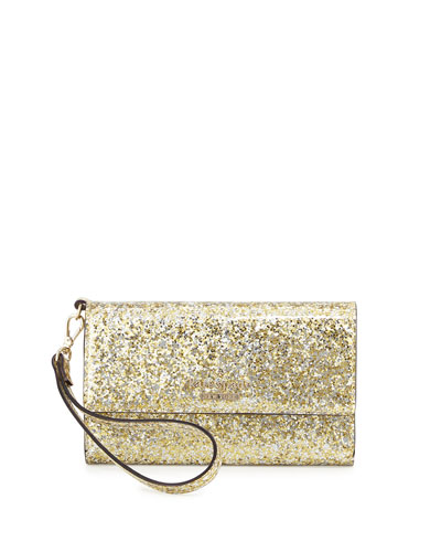 glitter iPhone 6 wristlet wallet, silver/gold/rose gold