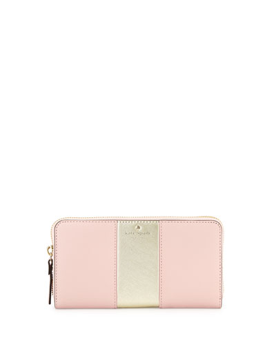 cedar street lacey racing-stripe wallet, rose jade/gold