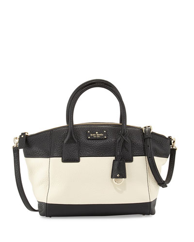 kendall court small henley satchel bag, black/canvas