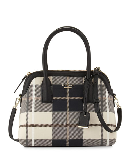 cameron street plaid maisie satchel bag, pumice multi