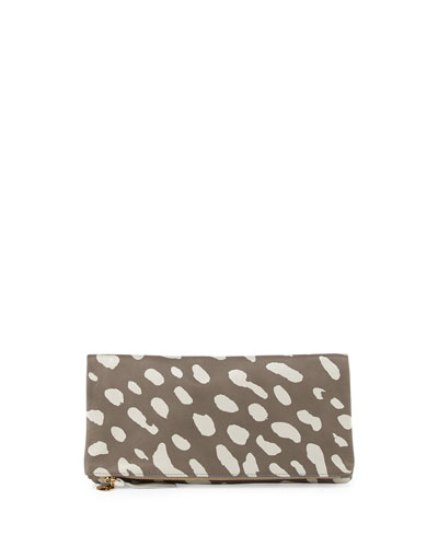 Supreme Fold-Over Spotted Clutch Bag, Dark Gray/Cream