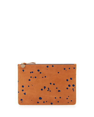 Supreme Margot Flat Clutch Bag, Camel Navy Splash