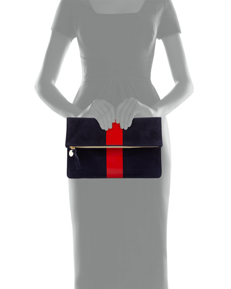 Supreme Margot Suede Fold-Over Clutch Bag, Navy/Red