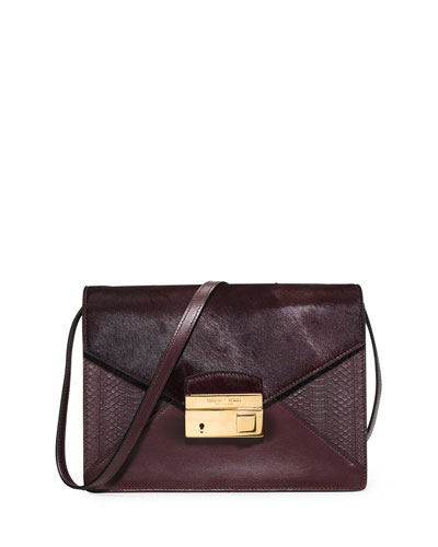 Gia Medium Snake & Calf Hair Crossbody Bag, Bordeaux