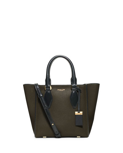 Gracie Small Colorblock Calf Tote Bag, Olive/Black