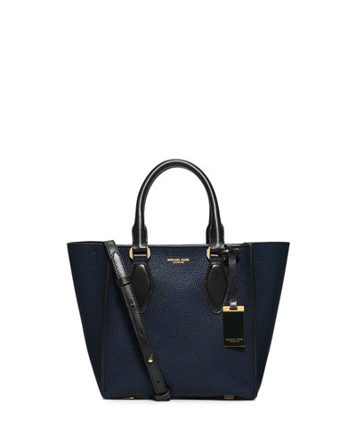 Gracie Small Colorblock Calf Tote Bag, Navy/Black