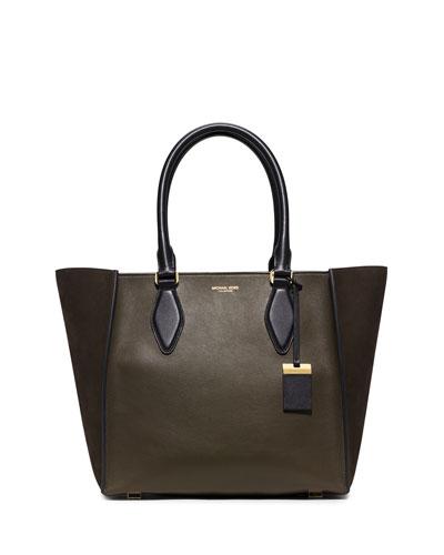 Gracie Large Colorblock Calf Tote Bag, Olive/Black