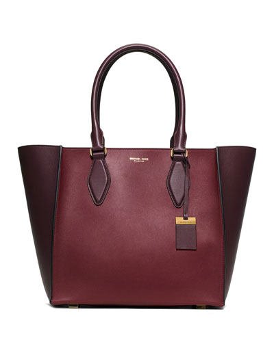 Gracie Large Colorblock Calf Tote Bag, Claret