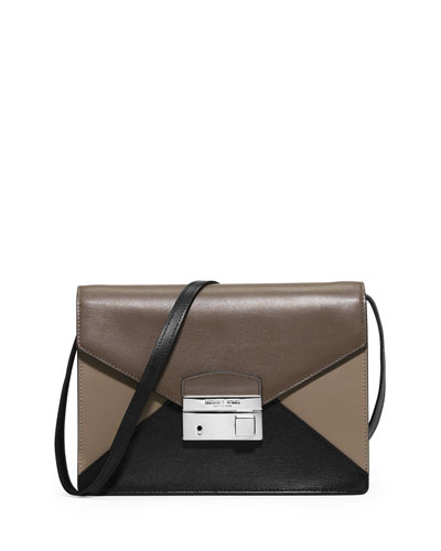 Gia Medium Tricolor Crossbody Bag, Elephant