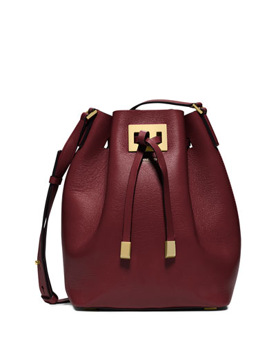 Miranda Medium Drawstring Messenger Bag, Claret