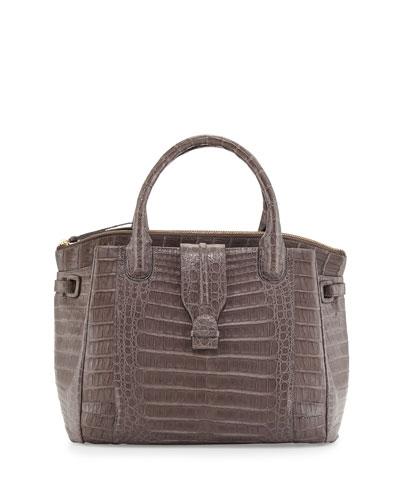 New Christina Crocodile Tote Bag, Matte Gray