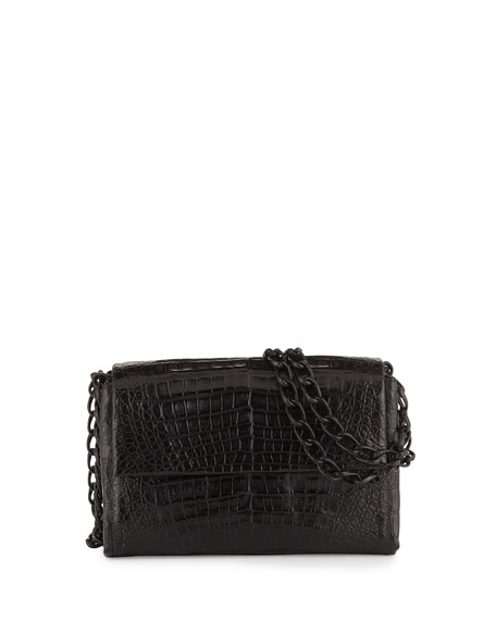 Nancy Gonzalez Crocodile Small Chain-Strap Shoulder Bag, Black