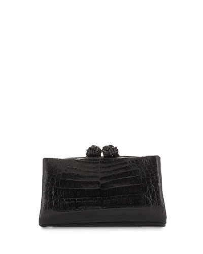 Crocodile Knot Clutch Bag w/Chain, Shiny Black