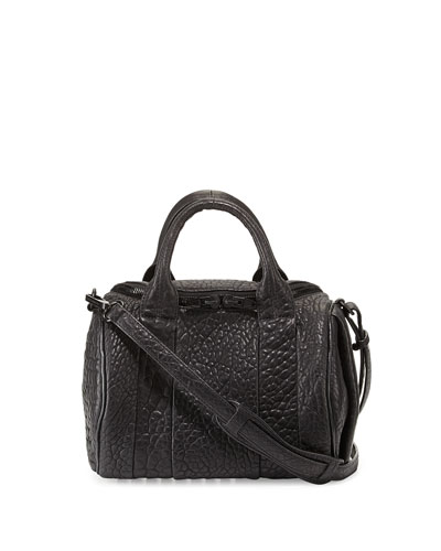 Rockie Soft Pebbled Leather Satchel Bag, Black