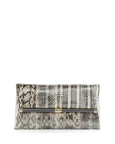 440 Distressed Snake Envelope Clutch Bag, Washed Pewter