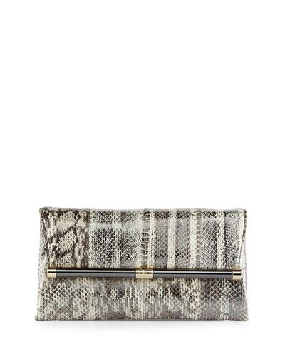 440 Distressed Snake Envelope Clutch Bag, Washed Pewter