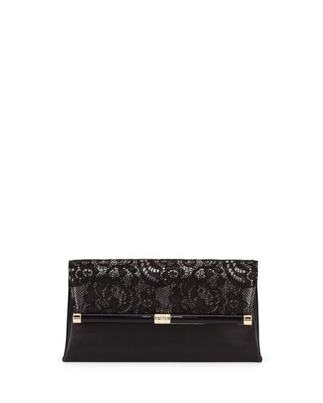 Diane von Furstenberg 440 Lace/Leather Evening Clutch Bag,
