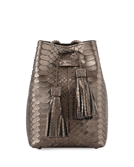 Python Small Double-Tassel Bucket Bag, Anthracite