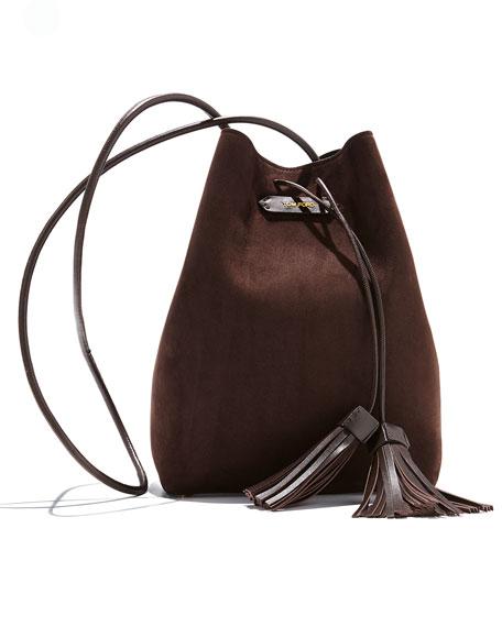 Suede Double-Tassel Medium Bucket Bag, Dark Brown