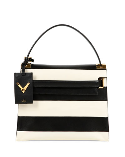 My Rockstud Striped Flap Bag, Black/Ivory