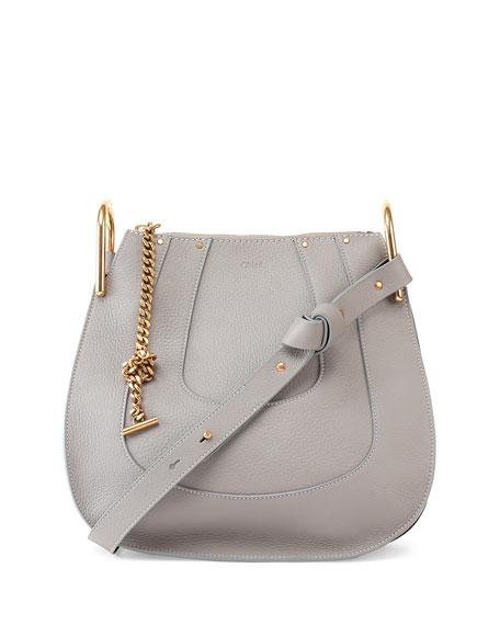 Chloe Hayley Small Leather Hobo Bag, Gray