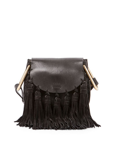 Hudson Mini Fringe Shoulder Bag, Black
