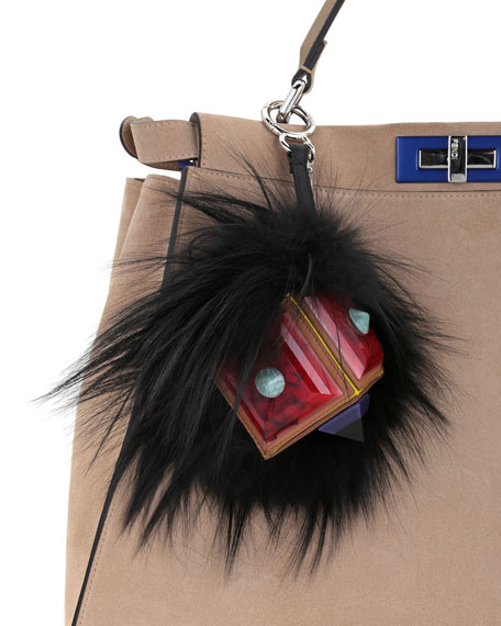 Prism Square Fur Monster Charm, Black