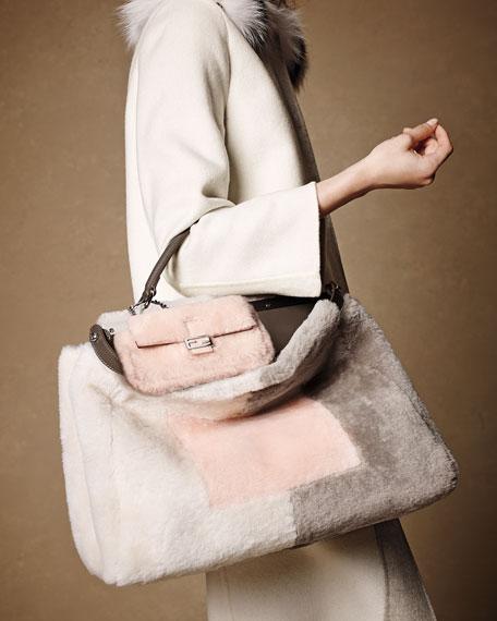 Peekaboo Large Shearling Satchel Bag, Pink/White/Gray