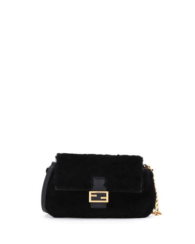 Baguette Micro Shearling Fur Shoulder Bag, Black