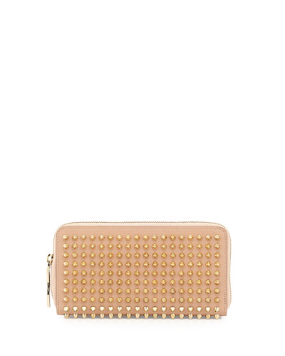 Panettone Spike Stud Continental Wallet, Nude/Gold