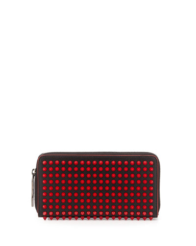 Panettone Spike Stud Continental Wallet, Black/Red