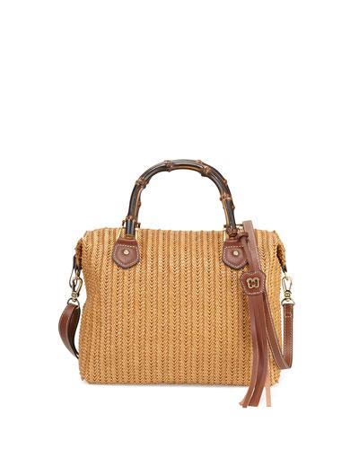 Hilsey Woven Satchel Bag, Honey