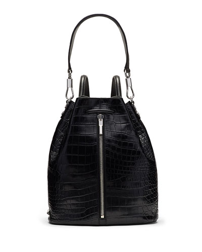 Cynnie Croc-Embossed Sling Bag/Backpack, Black