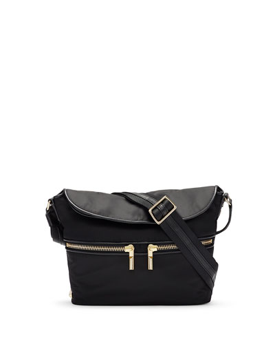 James Small Nylon Crossbody Bag, Black