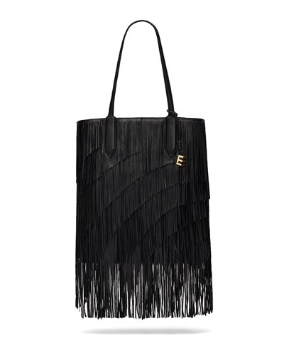 Scott Lambskin Fringe Tote Bag, Black