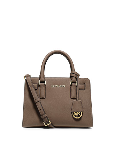 Dillon Saffiano Small Satchel Bag, Dark Dune