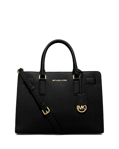 Dillon East-West Saffiano Satchel Bag, Black