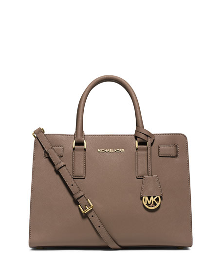MICHAEL Michael Kors Dillon East-West Saffiano Satchel Bag, Dark Dune