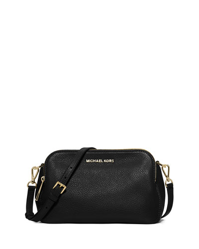 Bedford Medium Double-Zip Messenger Bag, Black