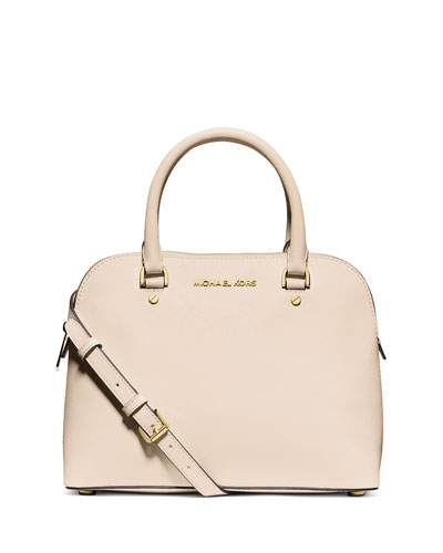 Cindy Medium Dome Satchel Bag, Ecru