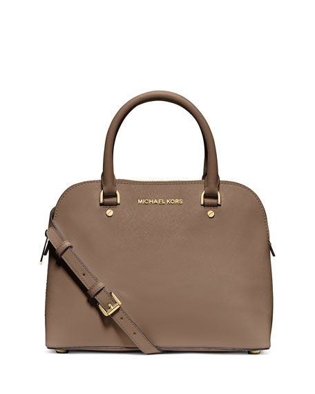 MICHAEL Michael Kors Cindy Medium Dome Satchel Bag, Dark Dune