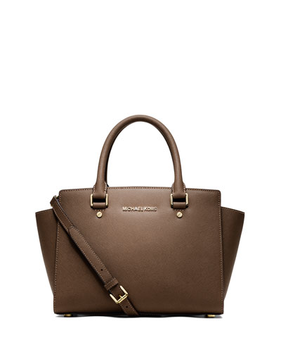 Selma Medium Top-Zip Satchel Bag, Dark Dune
