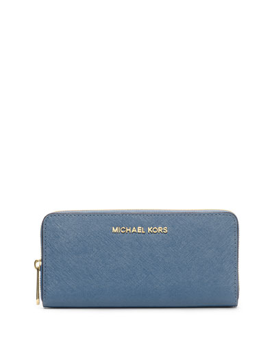 Jet Set Zip-Around Continental Travel Wallet, Cornflower
