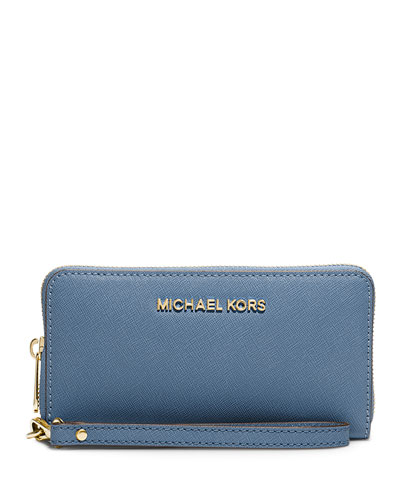Jet Set Travel Saffiano Multifunction Tech Wristlet Wallet, Cornflower